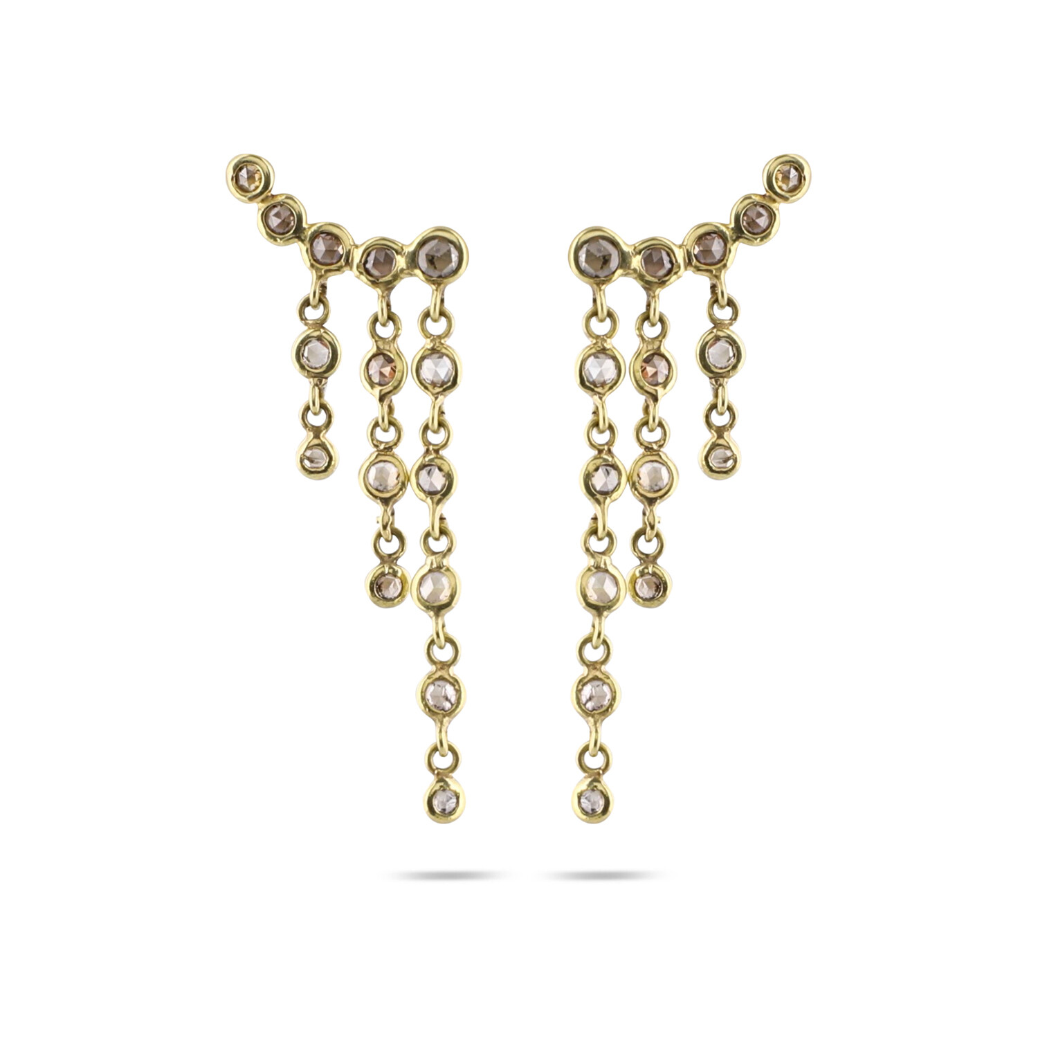Diamond Studs with 3 attached Chains