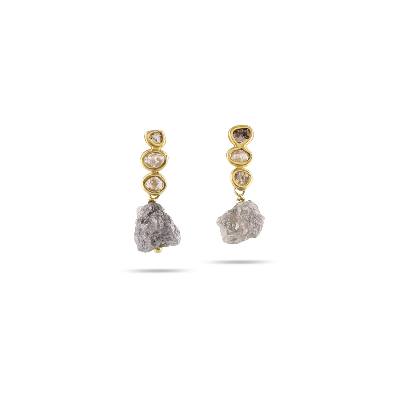 Diamond Studs with detachable rough Diamond