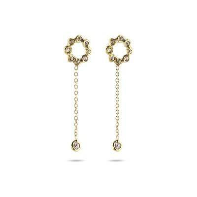 Diamond Sun Earrings with Chain