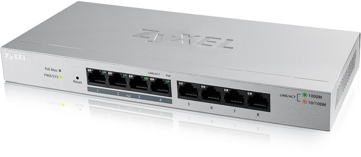 ZyXEL GS1200-8HP, 8 Port Gigabit PoE+ webmanaged Switch, 4x PoE, 60 Watt
