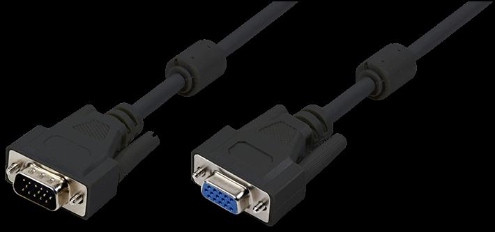 VGA Monitor kabel 15HDM (mannetje) naar 15HDF (vrouwtje) (ferrietkern)