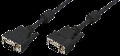 VGA Monitor kabel 15HDM (mannetje) naar 15HDM (mannetje) (ferrietkern)
