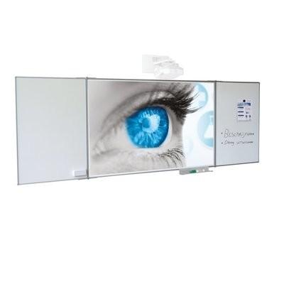 Projectiebord emailstaal mat wit 135x216, Extraflat-profiel, vijfvlaks voor interactieve projector, 16:10