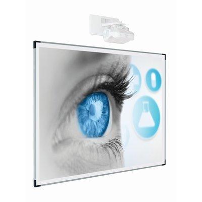 Projectiebord emailstaal mat wit 135x216, Extraflat-profiel, enkelvlaks voor interactieve projector,16:10
