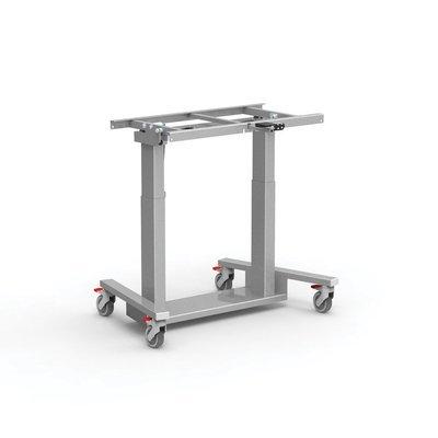 Dubbelzuils mobiele Kanteltafel aluminium EXTRA LAAG (kleuteronderwijs)- grijs