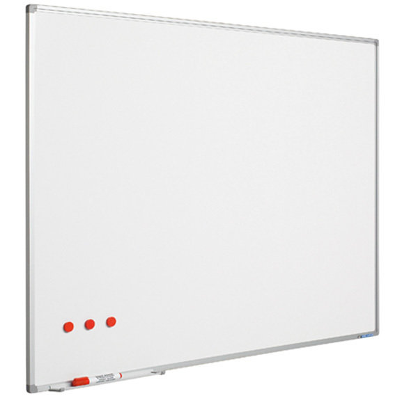 Whitebord Softline profiel 8mm, emailstaal wit