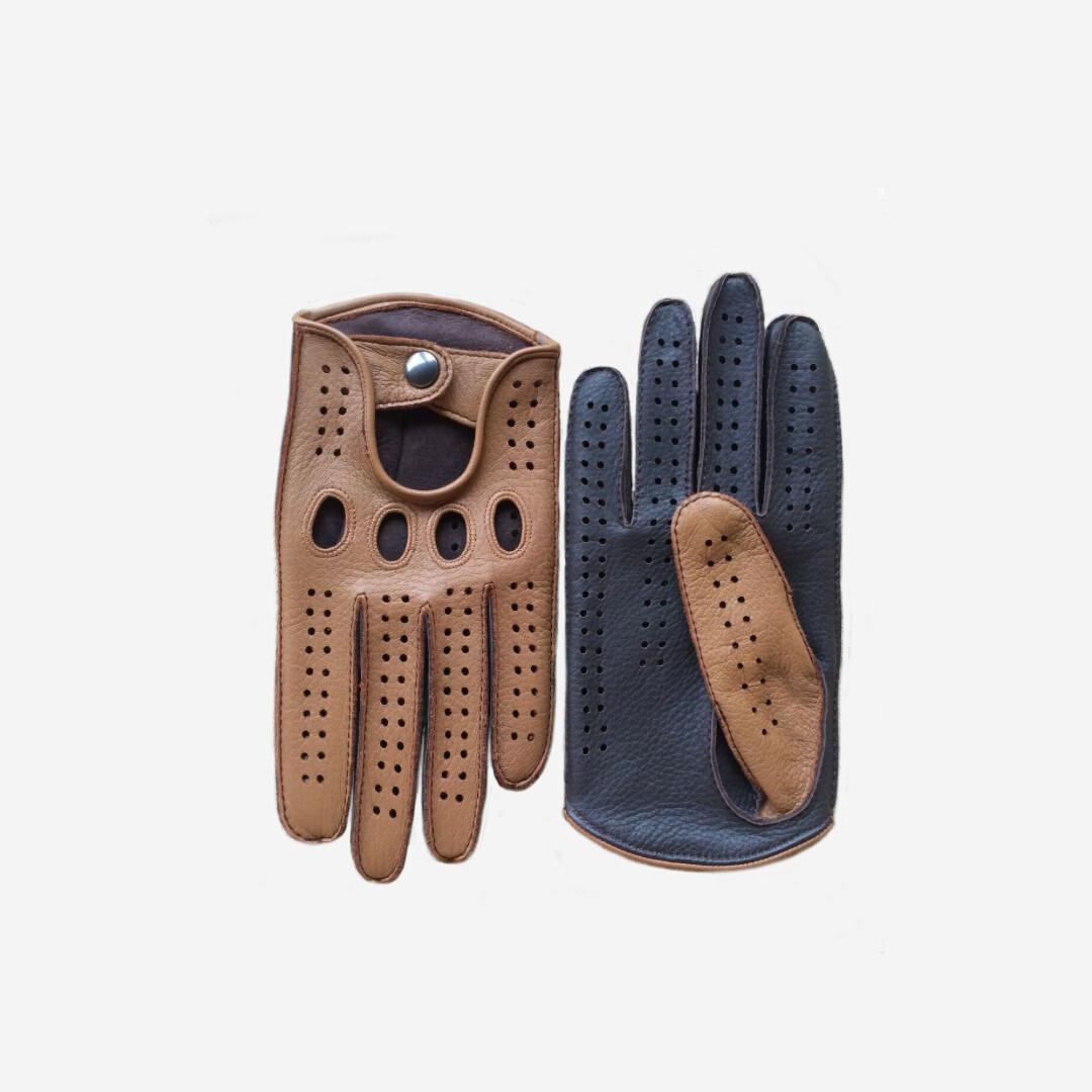 Перчатки водительские кожаные двухцветные (под заказ)