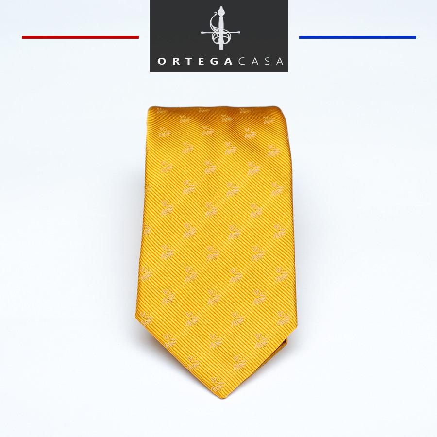 "Желтый шелковый галстук ""Agosto"" с тканым узором"