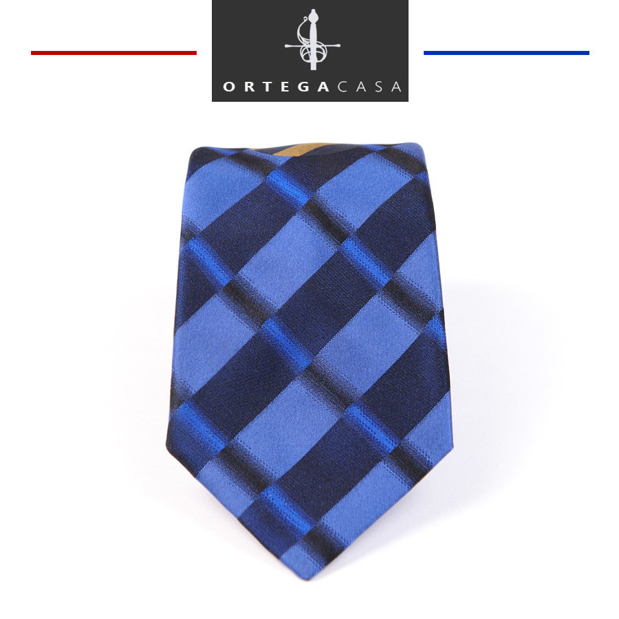 Синий шелковый галстук Apollo с геометрическим рисунком