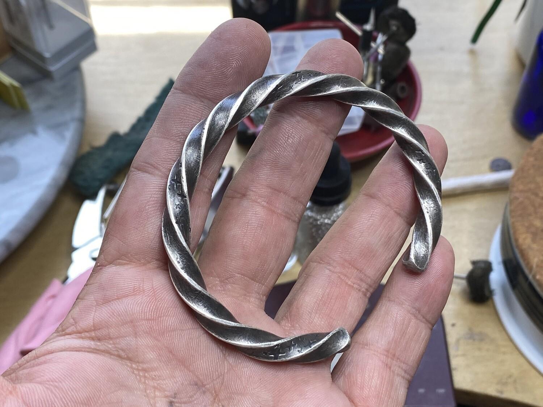 Heavy Solid Silver Star Bracelet