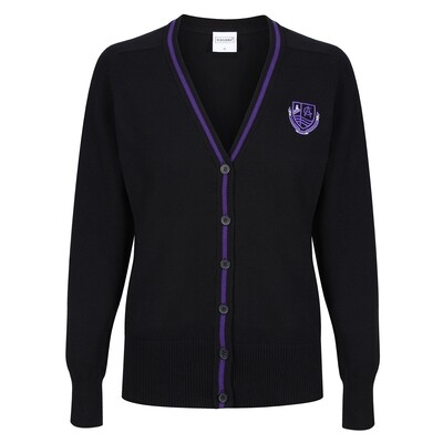 Clydeview Academy Girls Knitted Cardigan with stripe