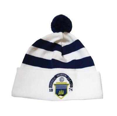 Morton Pom Pom Hat (White & Royal)