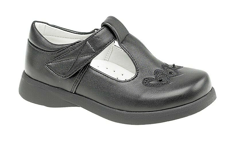 Girls T-Bar Shoe in Black Matt (Size 6 to 12) (RCSC732A)