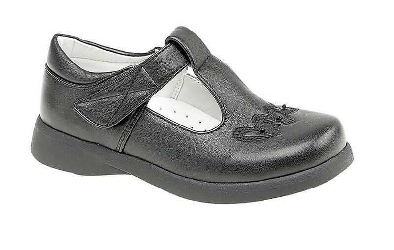 Girls T-Bar Shoe in Black Matt (Size 6 to 12) (RCSC732A)