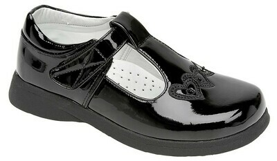 Girls T-Bar Shoe in Black Patent (Size 6 to 12) (RCSC732AP) 'Best Seller'