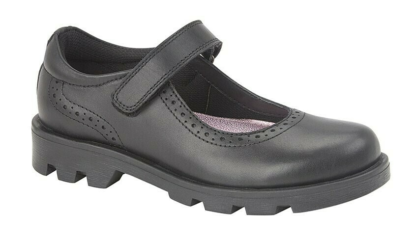 Girls Bar Shoe in Black Leather (Size 10 - Size 5) (RCSG192A) 'Best Seller'