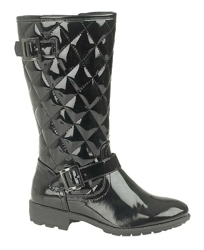 Girls Knee High Boot in Black Patent