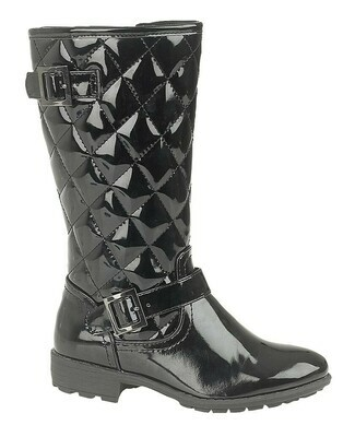 Girls Knee High Boot in Black Patent
