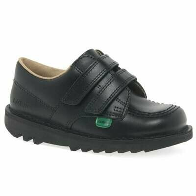Kickers 'Kick Lo' Velcro in Black Leather (NUMBER 1 BEST SELLER)