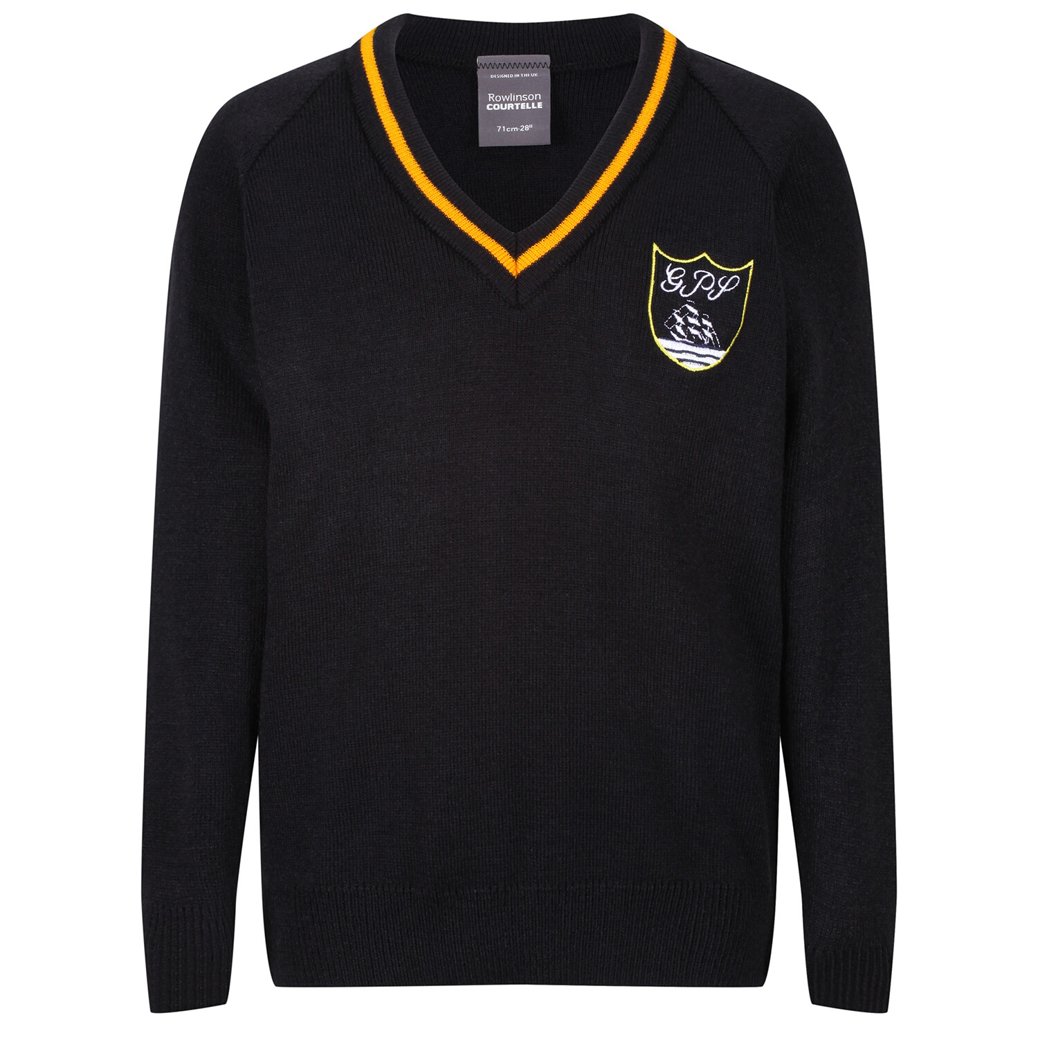 Gourock Primary Knitted V-neck with stripe