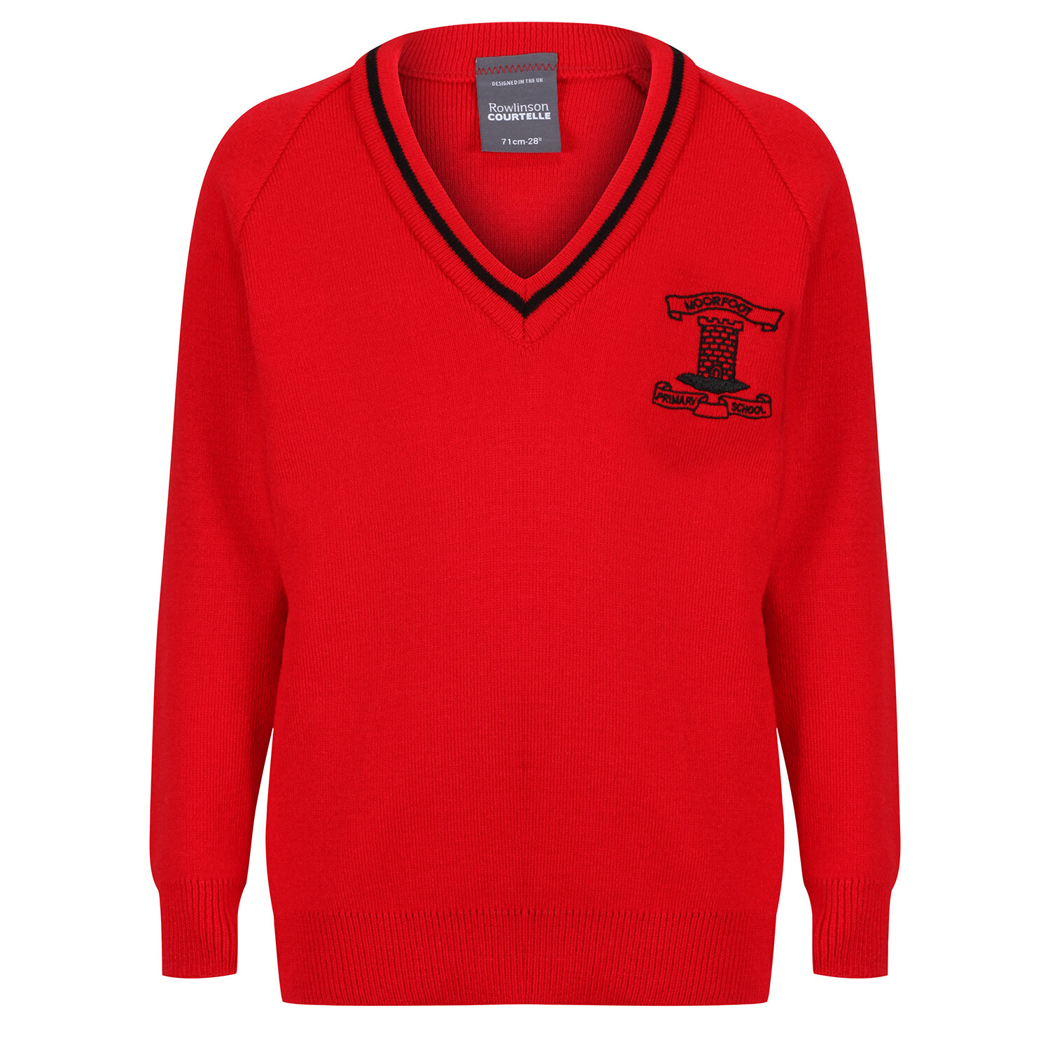 Moorfoot Primary Knitted V-neck with stripe