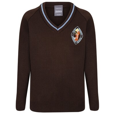 St Francis Primary Knitted V-neck with stripe