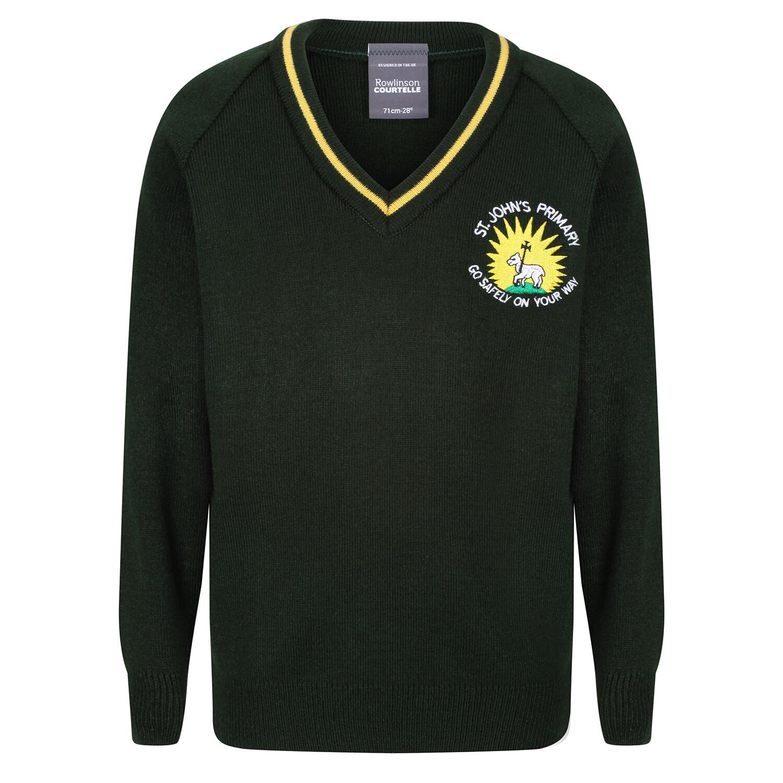 St John's Primary Knitted V-neck with stripe