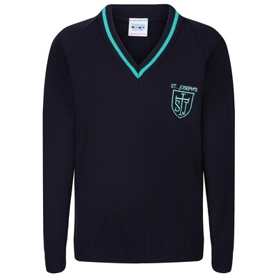 St Joseph's Primary Knitted V-neck with stripe