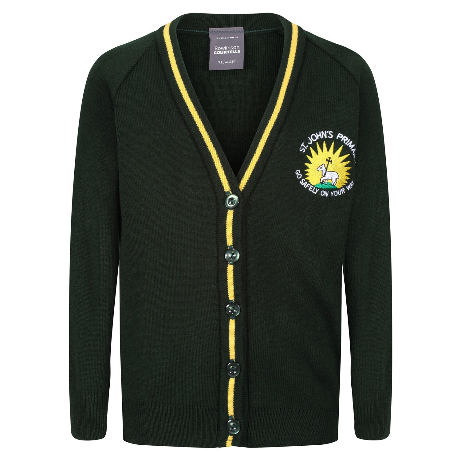 St John's Primary Knitted Cardigan with stripe