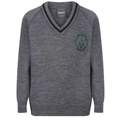 St Mary's Primary Knitted V-neck with stripe