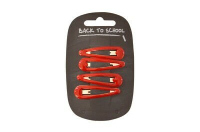 Click Clack Hair Clips (Packs of 4) (In Red)