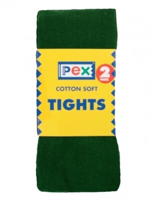 Cotton Tights by Pex (2 Pair Packs in Bottle Green)