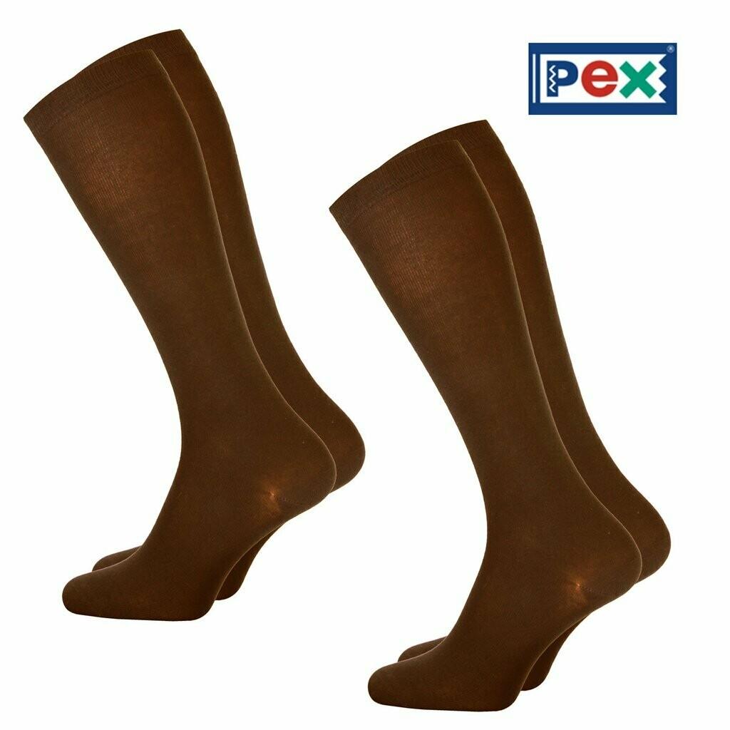 Girls Knee High Socks by Pex in Brown (2 Pair Packs) 'Best Seller'