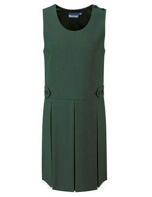 Box Pleat Pinafore In Bottle Green (From Age 3-4)