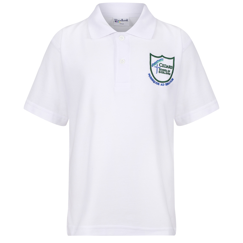 Cedars School Polo Shirt in White (J1-S6)