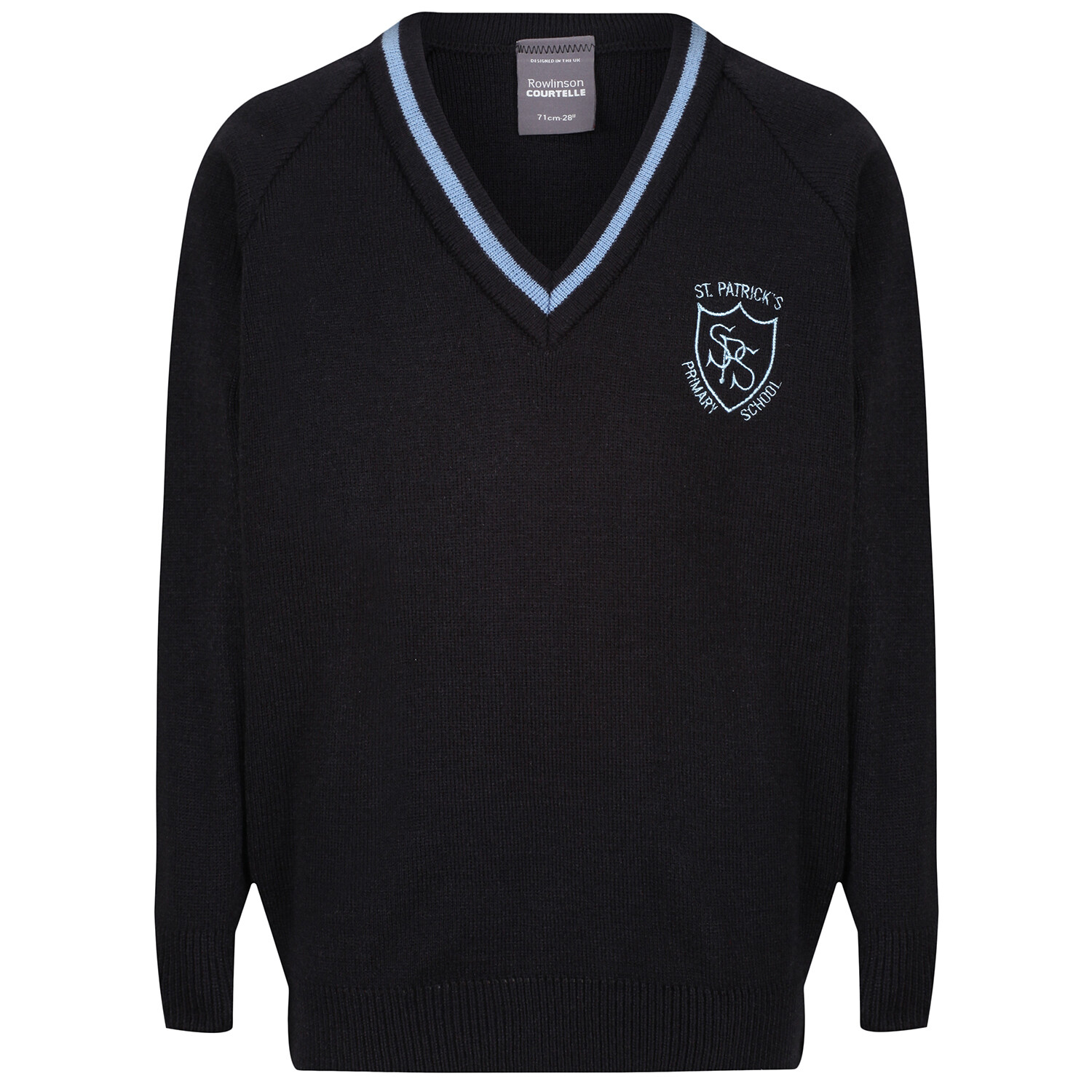 St Patrick's Primary Knitted V-neck with stripe