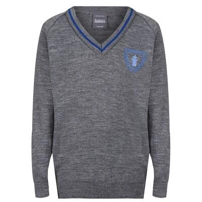 Wemyss Bay Primary Knitted V-neck with stripe
