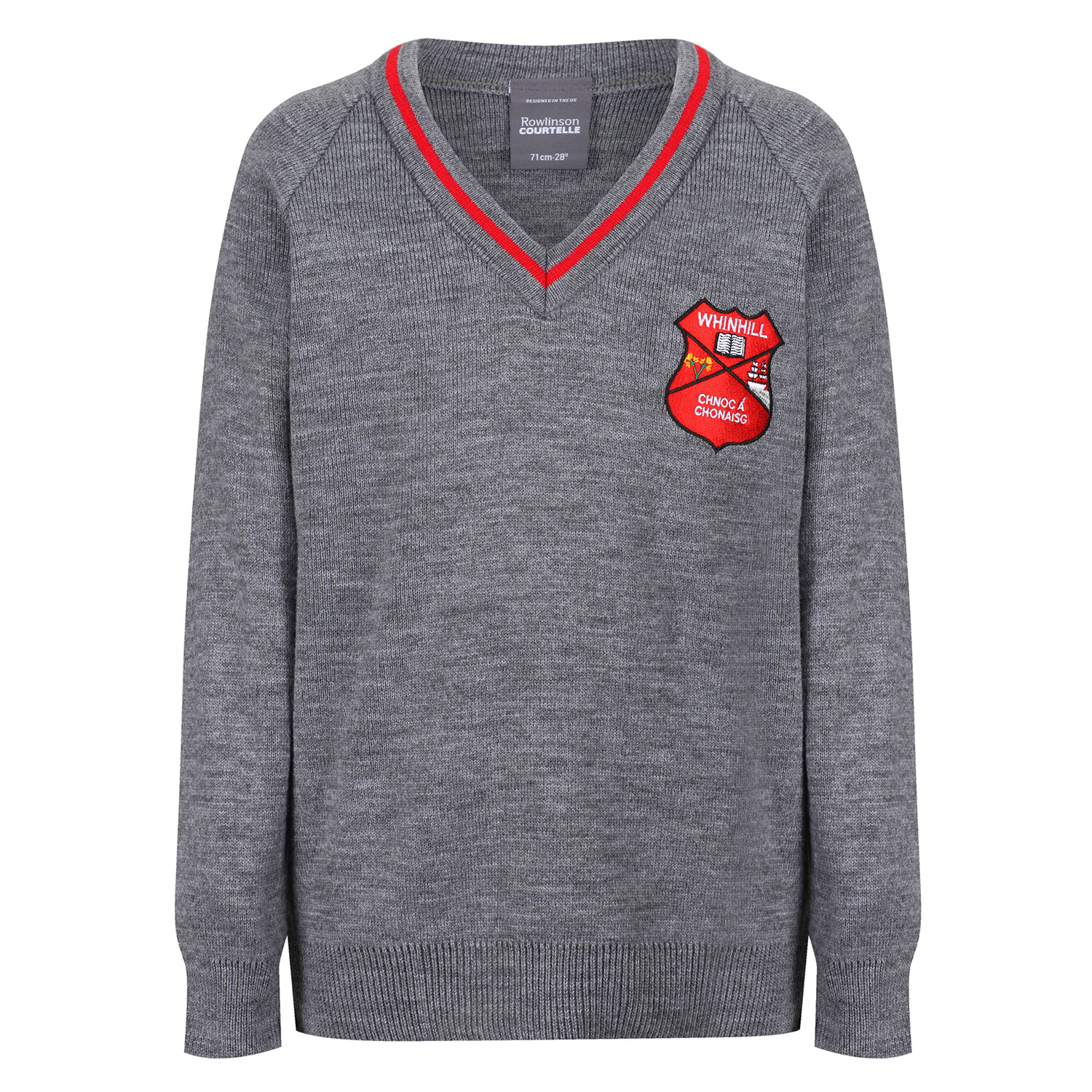 Whinhill Primary Knitted V-neck with stripe