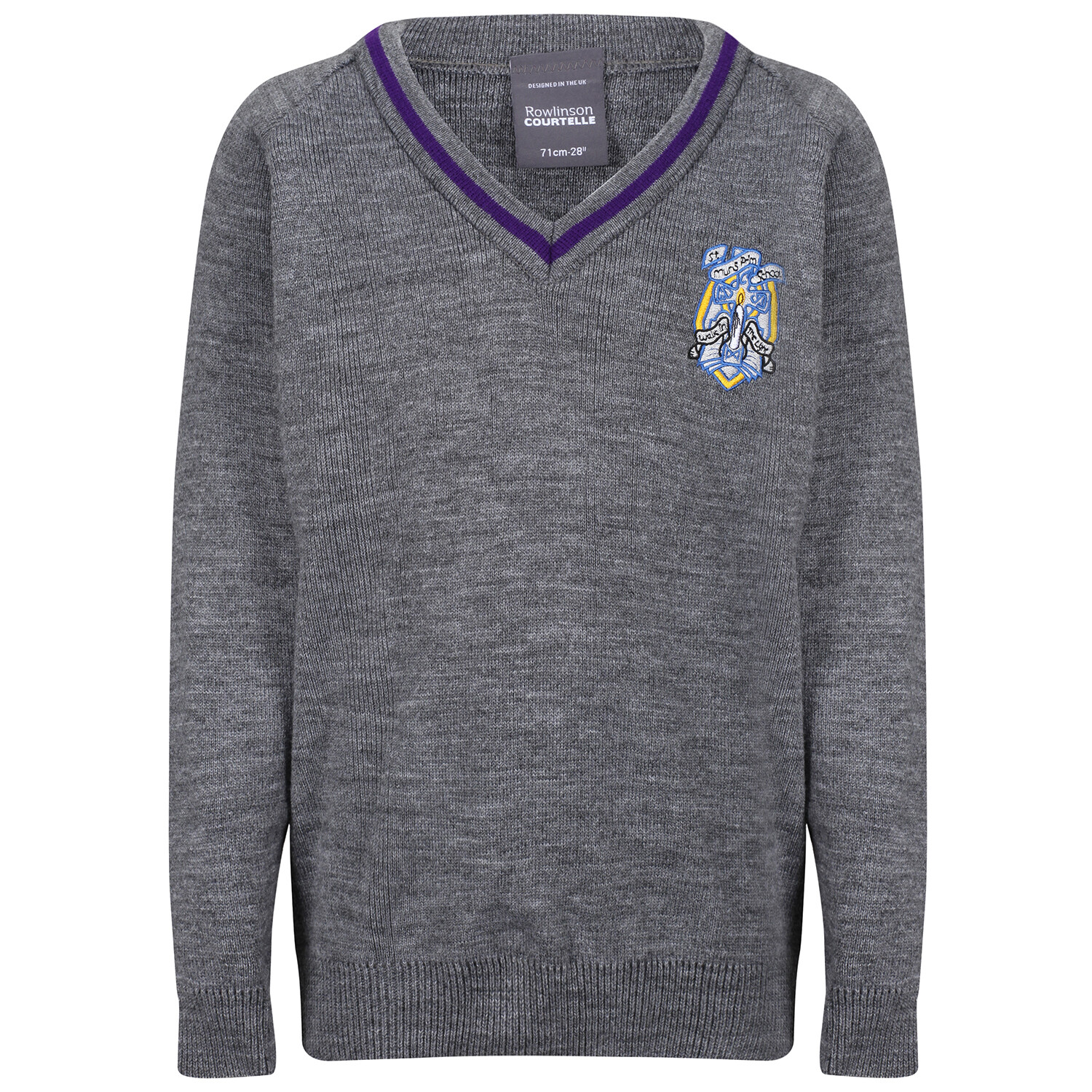 St Muns Primary Knitted V-neck with stripe