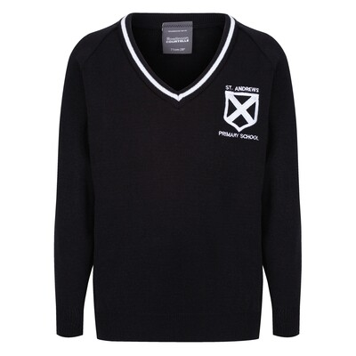 St Andrew's Primary Knitted V-neck with stripe