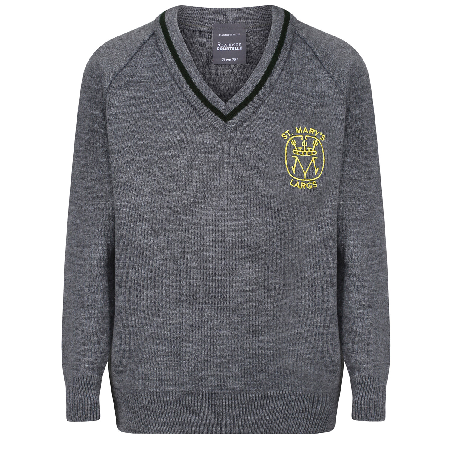 St Mary's Primary (Largs) Knitted V-neck with stripe