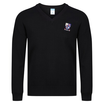Largs Academy Knitted V-neck (Plain black)
