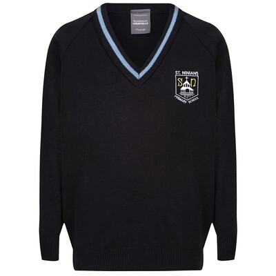St Ninian's Primary Knitted V-neck with stripe