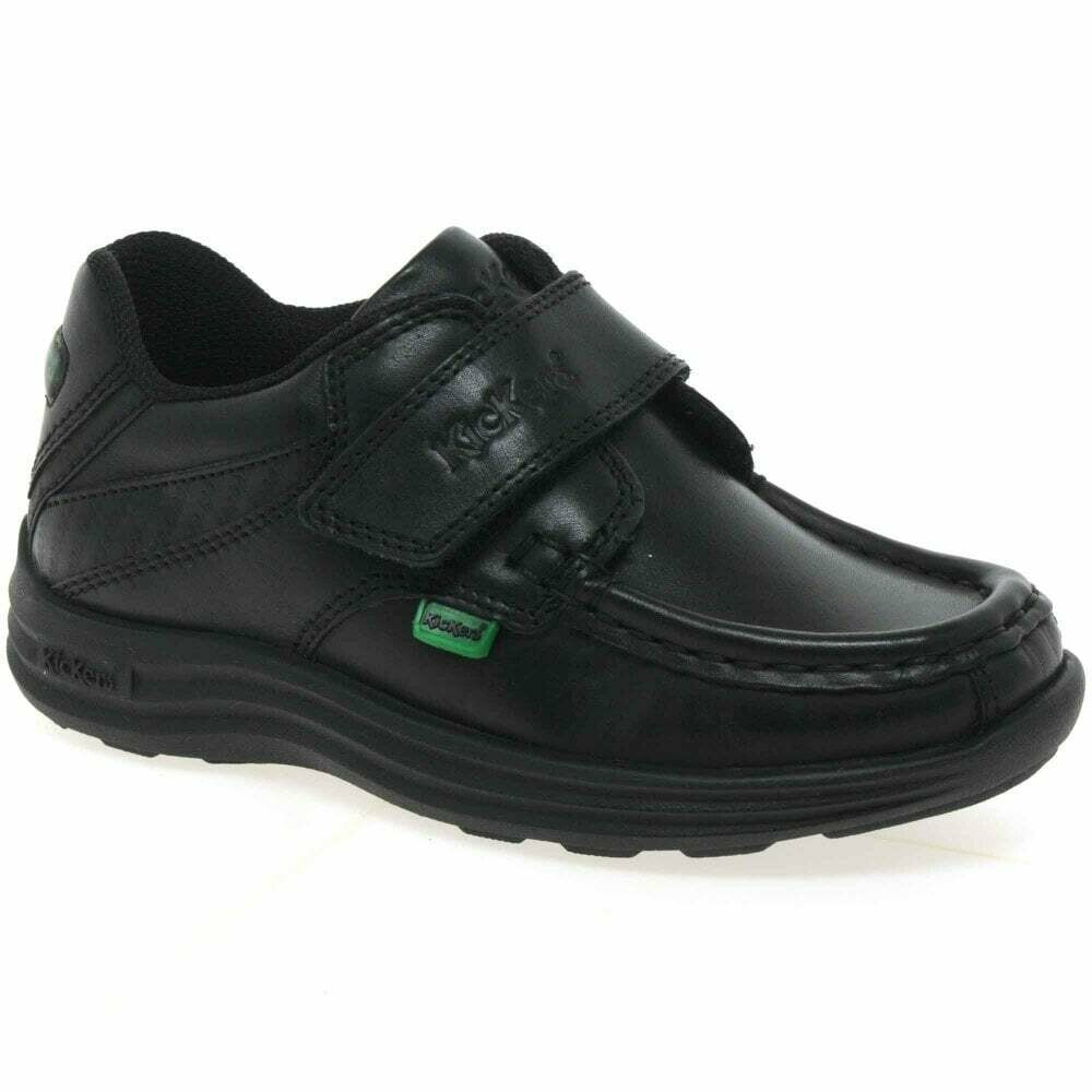 Kickers 'Reasan Strap' in Black Leather (Size 9 to Size 12 only)
