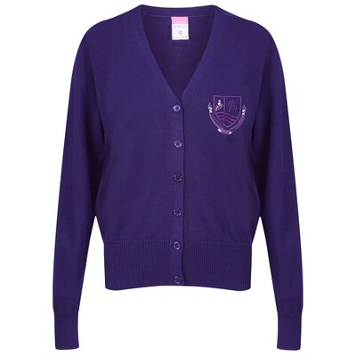 Clydeview Academy Girls Knitted Cardigan in purple