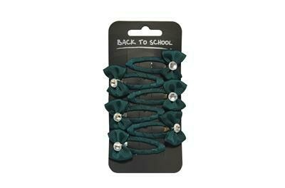 Diamante Bows (Pack of 6) in Bottle Green (RCSNWT310)