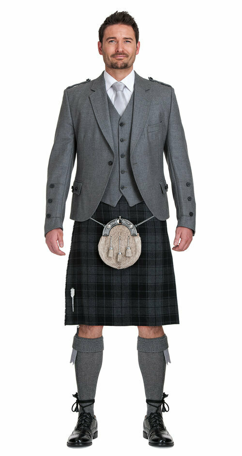 Grey Isle Kilt with Light Grey Tweed Jacket