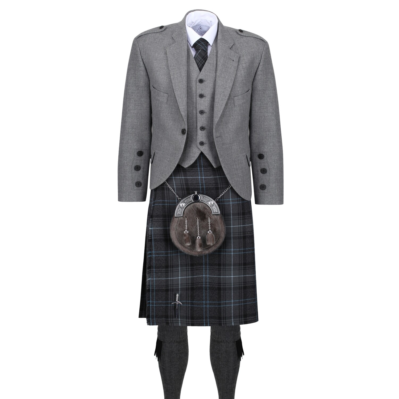 Hebridean Granite Blue Kilt with Light Grey Tweed Jacket