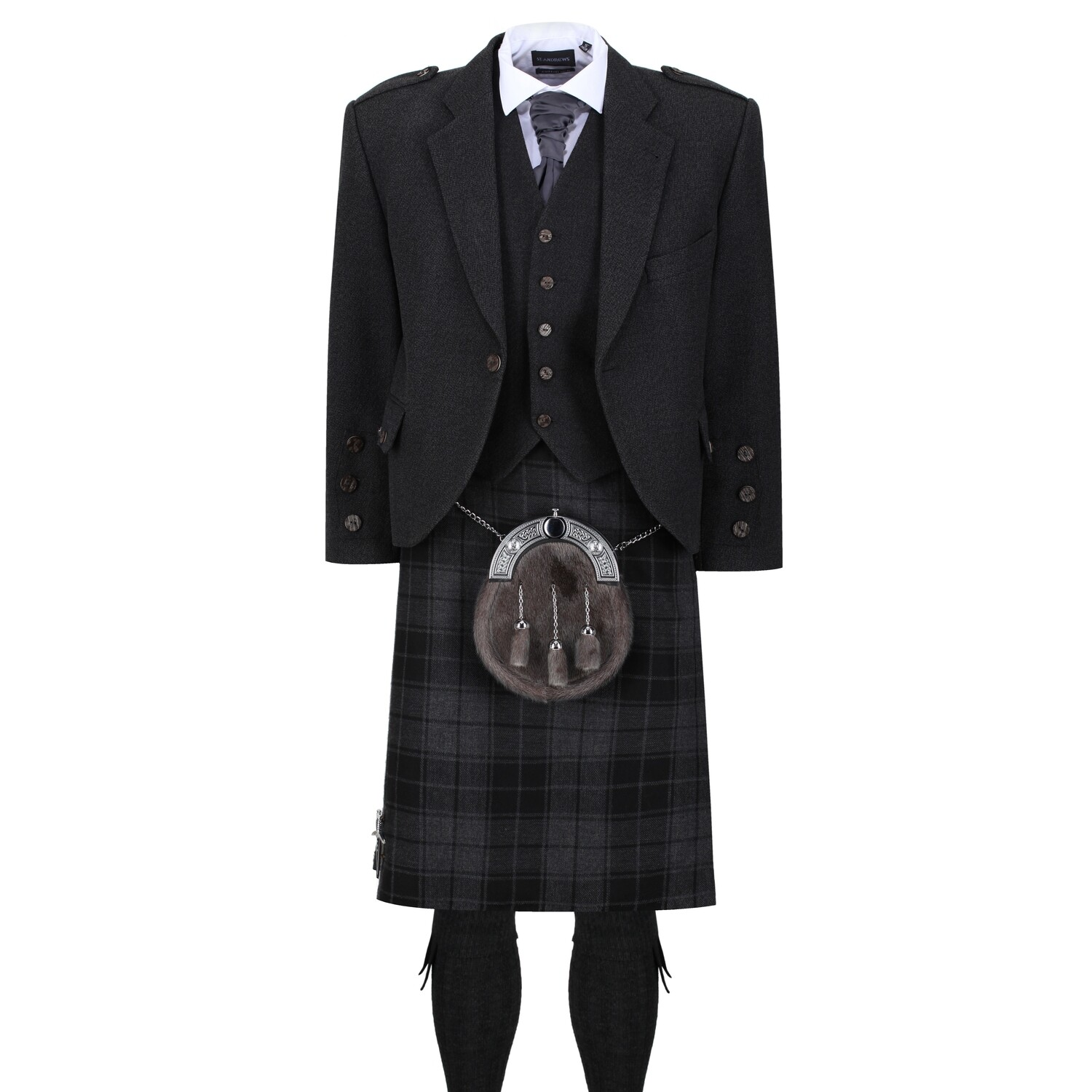 Grey Isle Kilt with Dark Grey Tweed Jacket