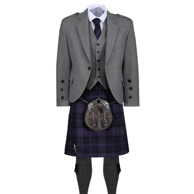 Scottish Thistle Kilt with Light Grey Tweed Jacket